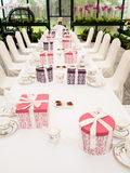 A tea time table settings in a orchid observatory Royalty Free Stock Photography
