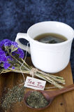 Tea time tag with tea cup Royalty Free Stock Image