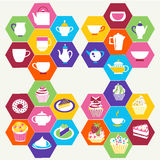 Tea Time , Tea cups, pots  and  of Cupcakes Dessert- Illustratio Stock Photos