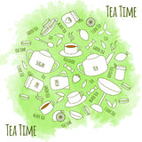 Tea time. Tea icons on watercolor background. Royalty Free Stock Images