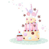 Tea time template design. Illustration made of birthday cake, sweets and cupcake. Royalty Free Stock Photography