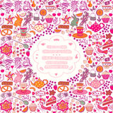 Tea time template design, vector set.Vector illustration made of Royalty Free Stock Photography