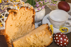 Tea time with typical Easter cake. royalty free stock images