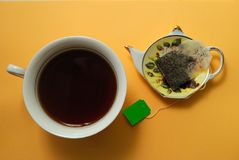 Tea time. Used tea bag, tea and a plate, stylized as a teapot Stock Photos
