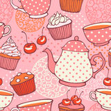 Tea time vector hand drawn seamless pattern Royalty Free Stock Photo