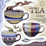 Tea time. Vector illustration with cups of aromatic tea. Tea spoon, tea leaves, milk and sugar Stock Image