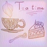 Tea time vector illustration. Doodle tea time vector illustration with spots of light Vector Illustration