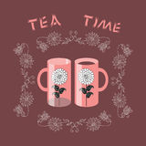 Tea time. Vintage card. Two cups with flowers in floral frame. Stock Image