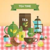 Tea time vintage decorative poster print Stock Images