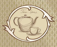 Tea time vintage label. Royalty Free Stock Images