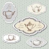 Tea time vintage label  set. Stock Photography