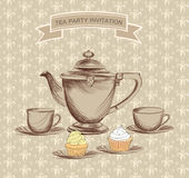 Tea time vintage label. Vector victorian illustration Royalty Free Stock Photography