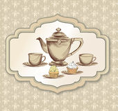Tea time vintage label. Vector victorian illustration Royalty Free Stock Photos