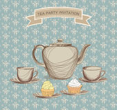 Tea time vintage label. Vector victorian illustration Royalty Free Stock Images