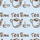 Tea time vintage seamless background. Stock Image