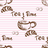 Tea time vintage seamless background. Royalty Free Stock Images