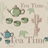 Tea time vintage seamless background. Retro kettle seamless pattern. Stock Photos