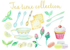 Tea time. Vintage watercolor doodle pots, cups flowers, cookies and cakes high detail collection. Watercolor  set o Royalty Free Stock Photography