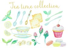 Tea time. Vintage watercolor doodle pots, cups flowers, cookies and cakes high detail collection. Watercolor set of stock illustration