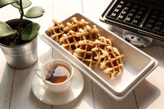 Tea Time with Waffle afternoon Royalty Free Stock Images