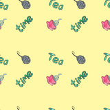 Tea time watercolor seamless patten. Watercolor seamless pattern, painted by hand vector illustration