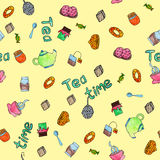 Tea time watercolor seamless patten. Tea time watercolor seamless pattern vector eps 8 painted by hand food and drinks royalty free illustration