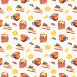 Tea time watercolor seamless pattern vector illustration