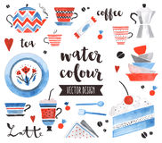 Tea Time Watercolor Vector Objects Royalty Free Stock Photo