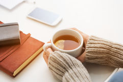 Tea time in winter Royalty Free Stock Photos