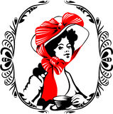 Tea-time woman silhouette with ornament Stock Photo