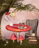 Tea time. Wonderland series - Fantasy tea time Stock Image