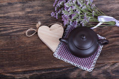 Tea time on wooden background stock photo