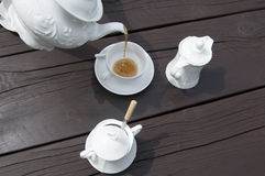 Tea time. Wooden table in tea time royalty free stock photography