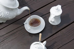 Tea time. Wooden table in tea time Royalty Free Stock Images