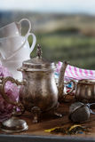 Tea Time on wooden table Stock Photos