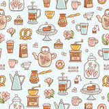 Tea time yummy seamless pattern on light blue background Royalty Free Stock Photo