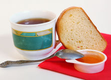 Tea toast and apricot jam breakfast Stock Images
