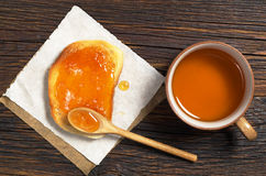 Tea and toast with jam Stock Photography
