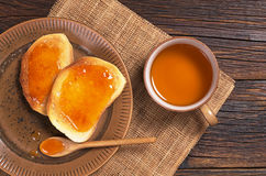 Tea and toast with jam Royalty Free Stock Photo