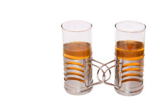 Tea together. Two glasses of tea  isolated on white Stock Photography