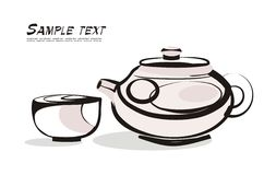 Tea tradition. Vector drawing of the yeapot and mug in asian style Stock Photos