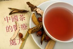 Tea traditional chinese medicine. Ingredients for a cup of tea in traditional chinese medicine. cure of diseases by alternative methods Stock Photo