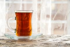 Tea in a Traditional Turkish Glass Royalty Free Stock Photos