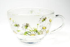 Tea transparent cup with an ornament. From green colours stock image