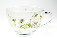 Tea transparent cup  with an ornament. Tea transparent cup with an ornament from green colours Stock Image
