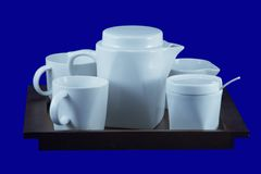 Tea-tray with cups 2, with clipping path. A tea-tray with 2 cups, a  milk -jug and a sugar-basin Royalty Free Stock Photo