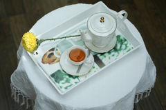 Tea on the tray. Give the body refreshment time with a hot tea Stock Photos