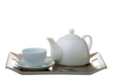 Tea tray with teapot and cup isolated Stock Images