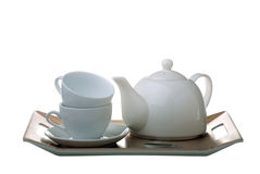 Tea tray with teapot and cups isolated Royalty Free Stock Photography