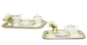 Tea trays isolated in white Stock Images